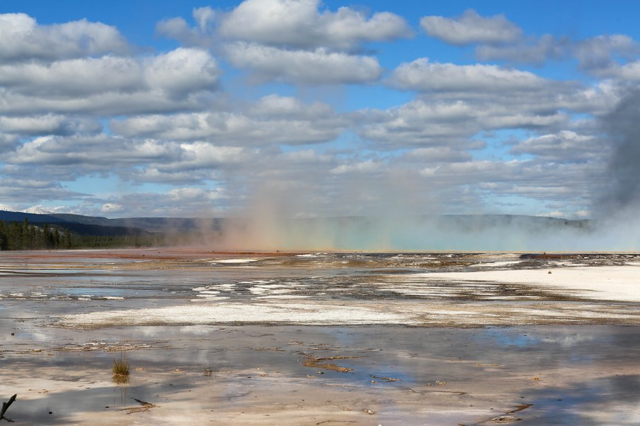 A colorful display of steam on display in Yellowstone. The water gets its colors from heat loving...