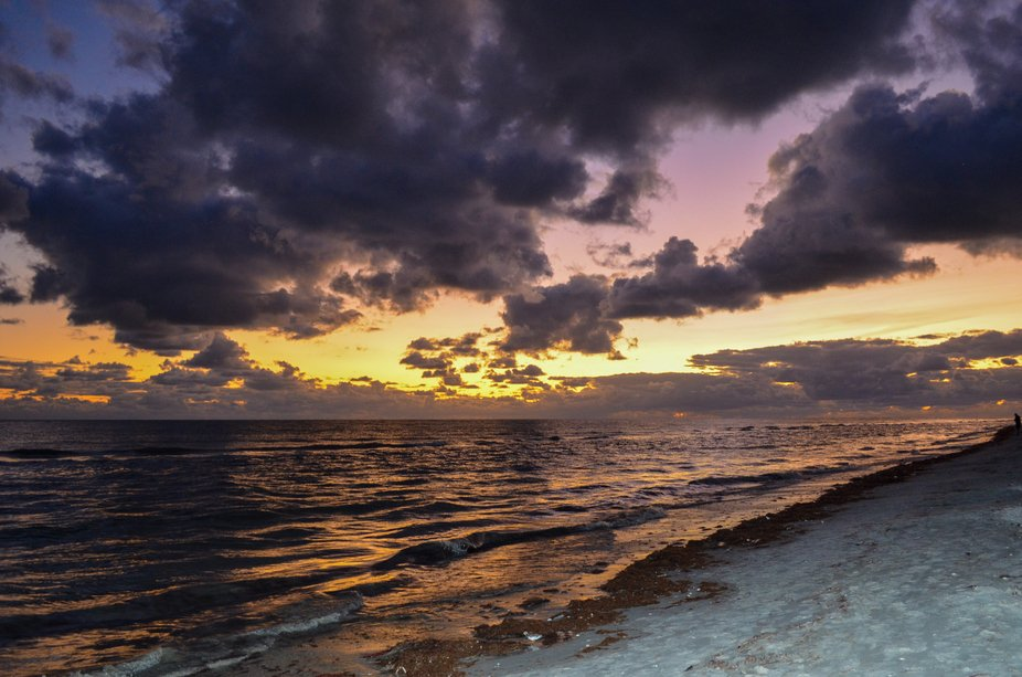 A dramatic sunset greets us upon arrival in Sanibel Island, Florida.