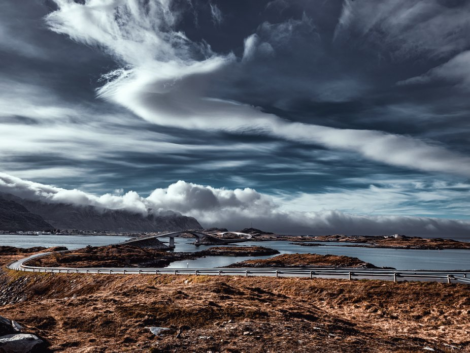 This photo is taken at Fredvang in Lofoten, Norway. The sky was beautiful, and the photo looked g...