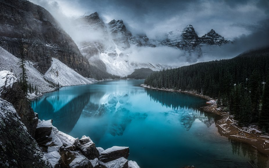 Moraine lake after the first snowfall in Banff, Canada.
