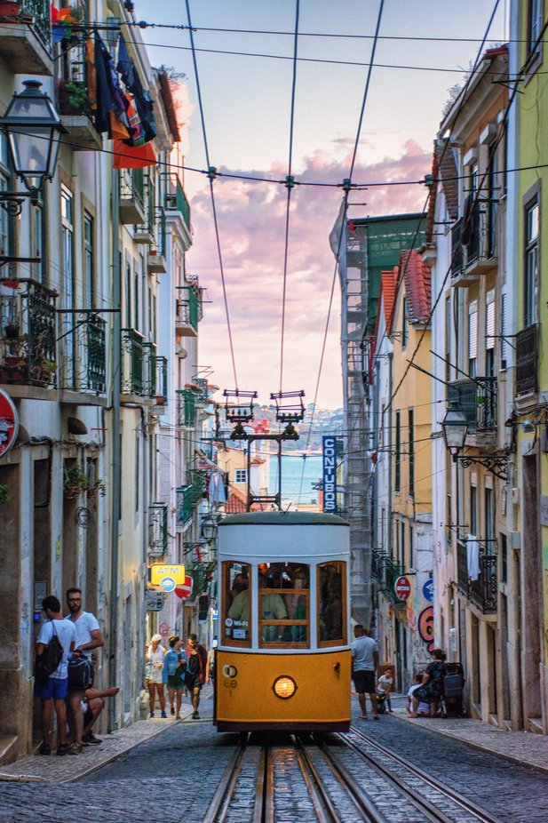 tramway of lisbon at sunset