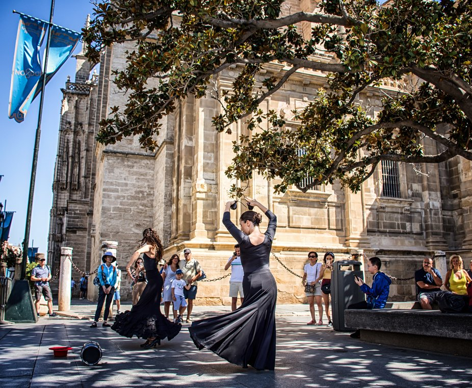 flamenco dancer in the streets of seville