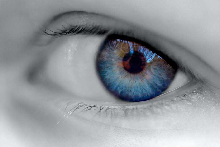 This is a macro selective black and white image of my daughter's eye.
