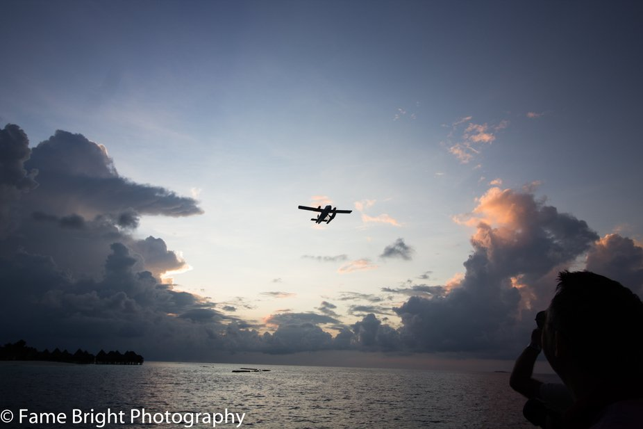 Twin Otter 300 Seaplane takes off from the lagoon at Dhuni Kolhu