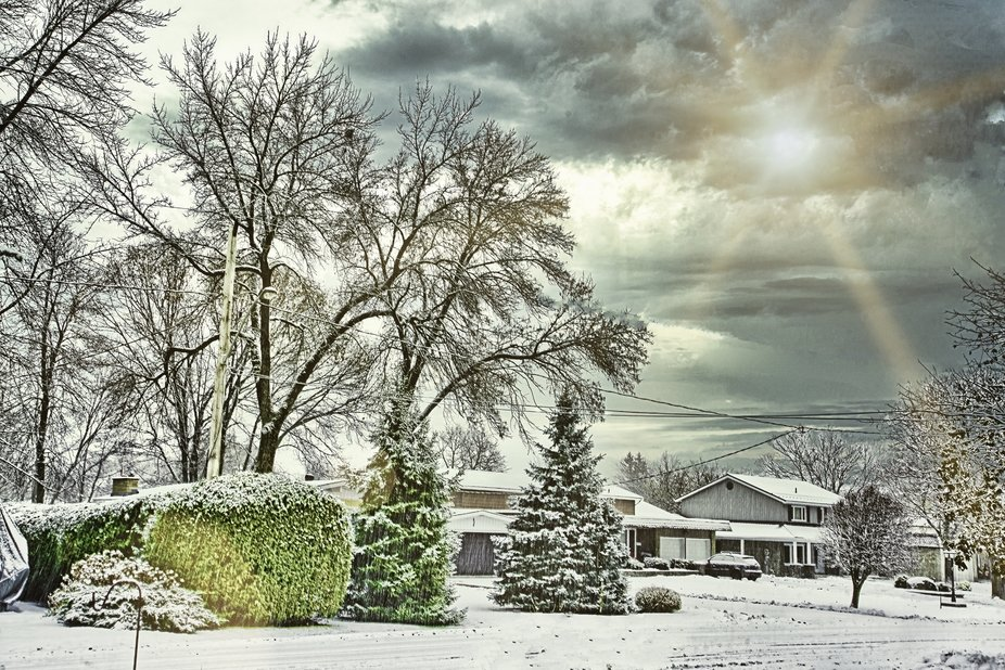 Lots of snow came early for winter, but about mid fall.  Time to get out my camera and take a shot of the neighbourhood.