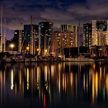 Sun Set at Ala Wai Harbour Oahu Hawaii