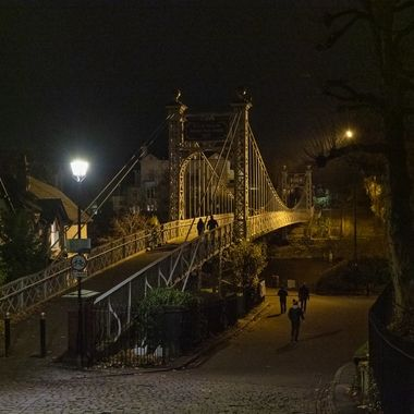 The Queens Park suspension bridge over the River Dee at Chester