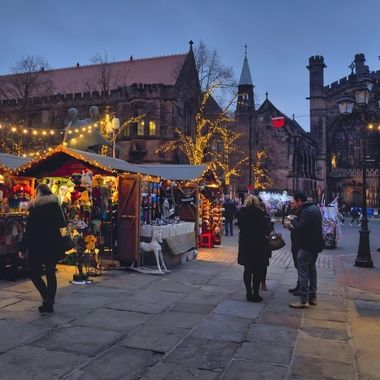 A bright and colourful market outside the Town Hall in Chester