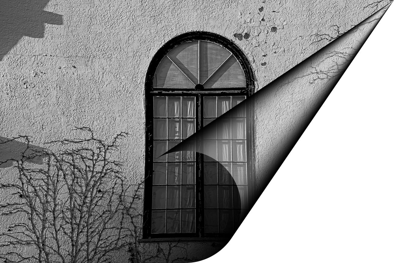 light and shade, bW window 1920's church abstract page curl