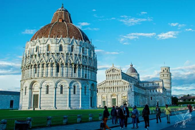 A brief shower of rain cleared the crowds giving the ideal opportunity to capture Pisa Baptistery & Cathedral & Campanile