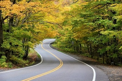 Winding road near Stowe, Vermont