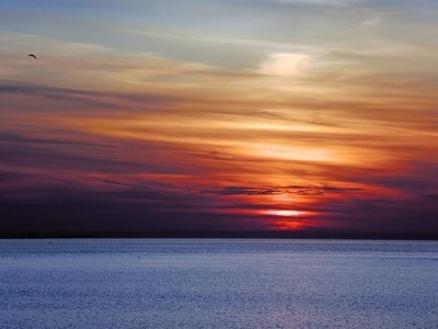 The sky is the color of a rainbow. Sunset over the Gulf of Finland. Saint-Petersburg. Photo 02.