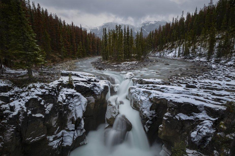 Sunwapta Falls in Jasper National Park. Between storms.