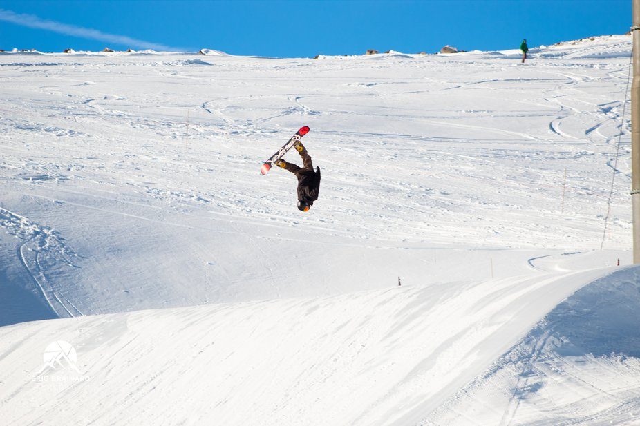 Taking pics of people doing tricks in the Terrain Park at Mount Hood.