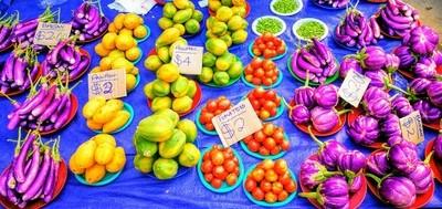 Fresh organic produce at the local markets in Fiji