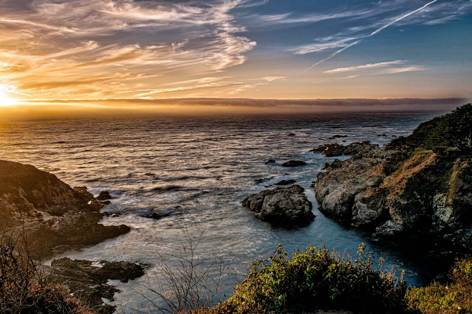 A sunset on the Pacific near Big Sur California.