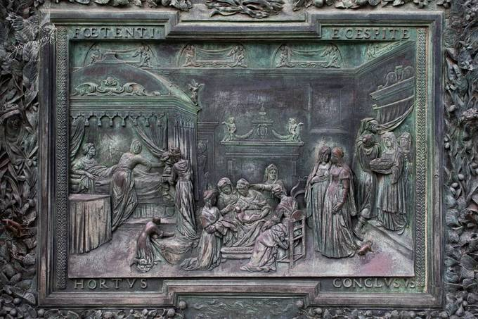 One of the many panels on the doors of Santa Maria Assunta Cathedral, Pisa, Italy - It was not until I magnified the image did I noticed neatly etched, graffiti in one corner Luigi Vecci 1819 -   https://www.sparrowfarts.com/