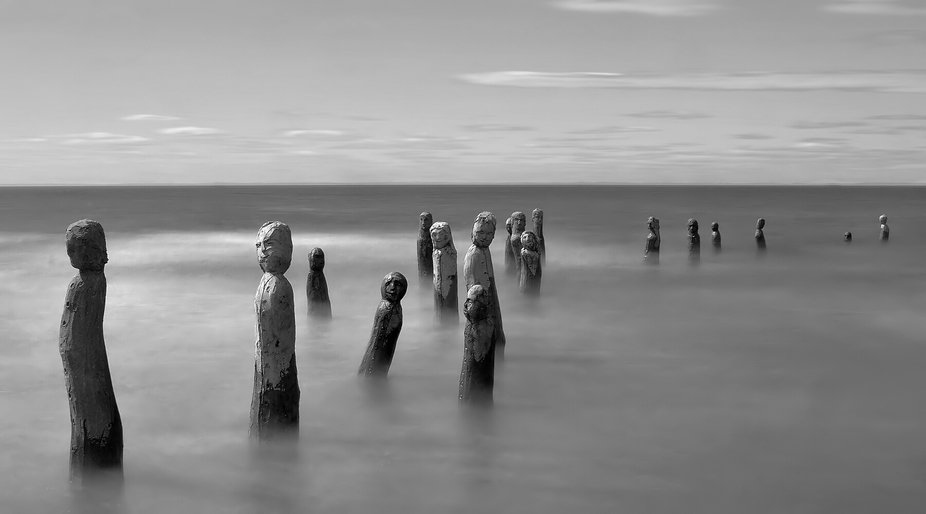 A 30-second long exposure of waves pounding against the majestic statues crafted by Marcel Gagnon...