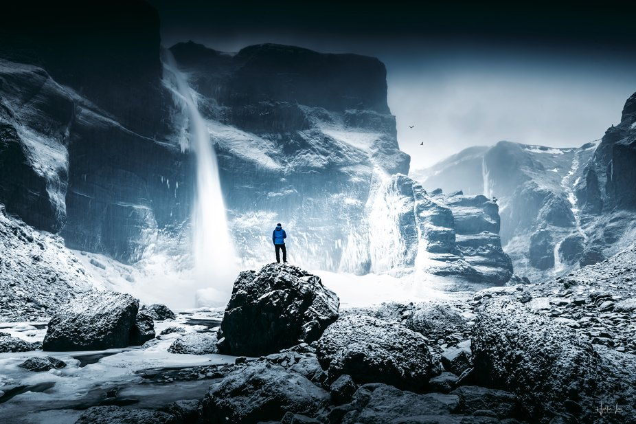 A cool location in front of a 120m waterfall here in Iceland