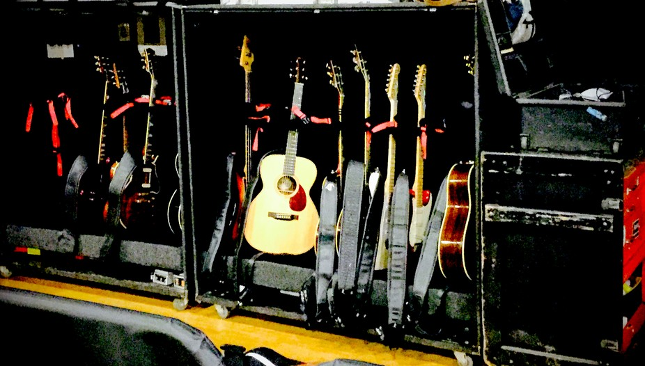 Just some of the guitar entourage at the disposal of Boz Scaggs & his talented musician friends!