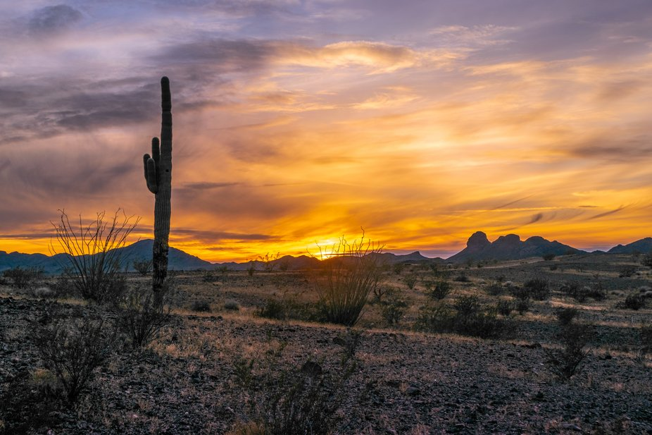 Another of the many colorful sunsets over the desert near Bouse, Arizona