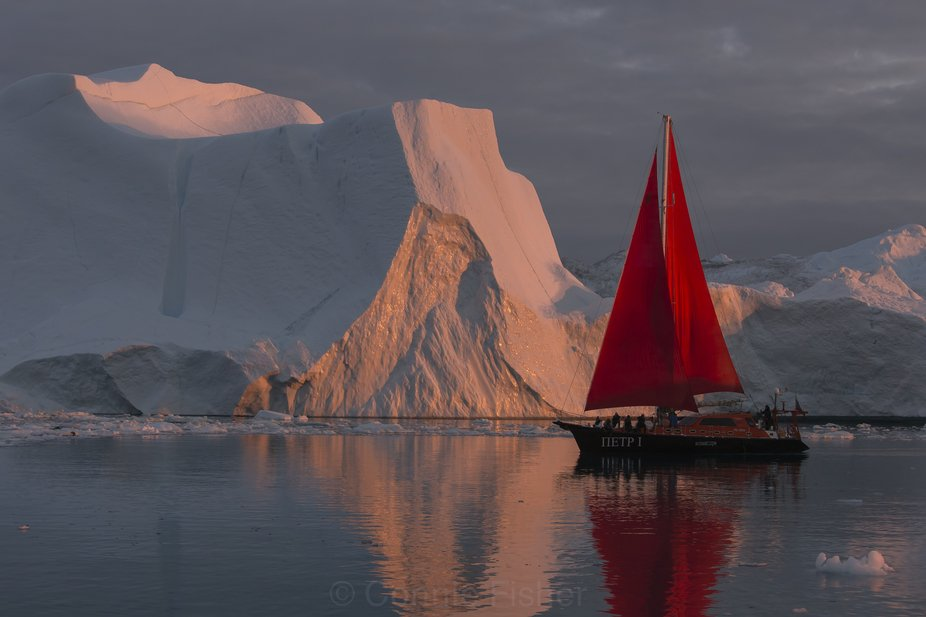 Arctic Sunset and Red Sails_