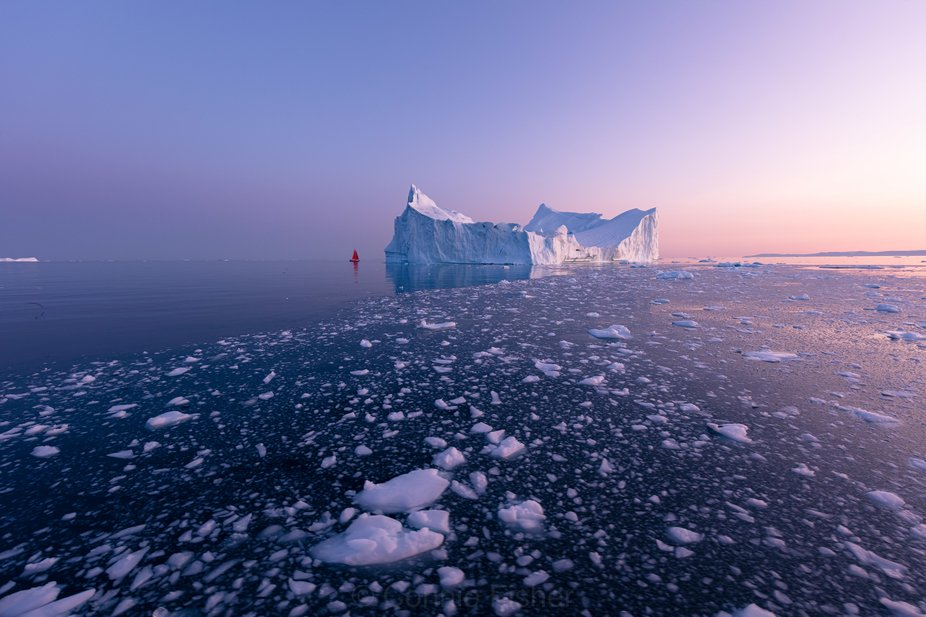 Sailing through loose ice to use as leading lines - in summer 2019- Disko Bay