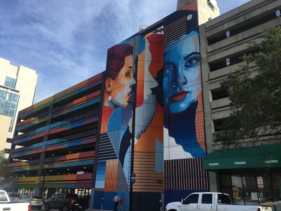 Graffiti artwork of a woman in downtown Jacksonville Florida.