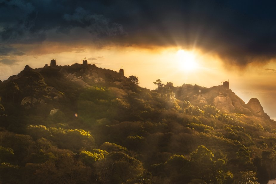 Moorish Castle in Sintra Portugal, in an epic late afternoon, Sintra a magical and wonderful plac...
