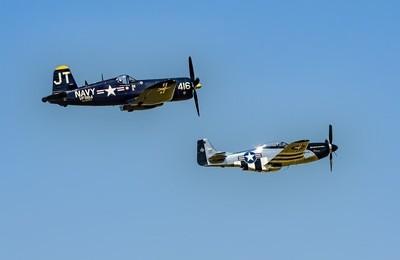 """F4u-4 Corsair """"Korean War Hero"""" and P-51 Mustang """"Quick Silver"""""""