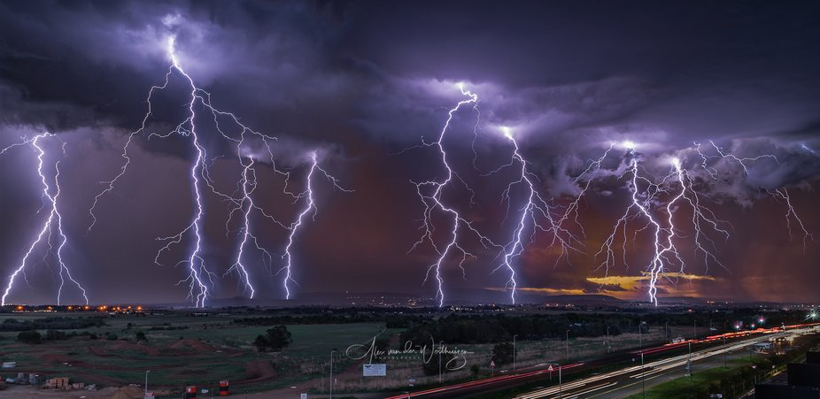 An approaching storm just after sunset, south of Johannesburg in South Africa. I stood on the top...