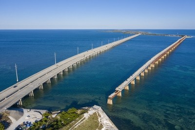 Aerial of the Bahia Honda Bridges
