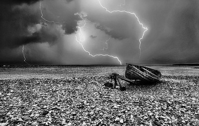 Thunder and lightning out at sea.