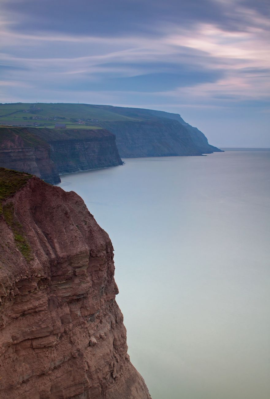 A long exposure image of the cliffs near Staithes, North Yorkshire