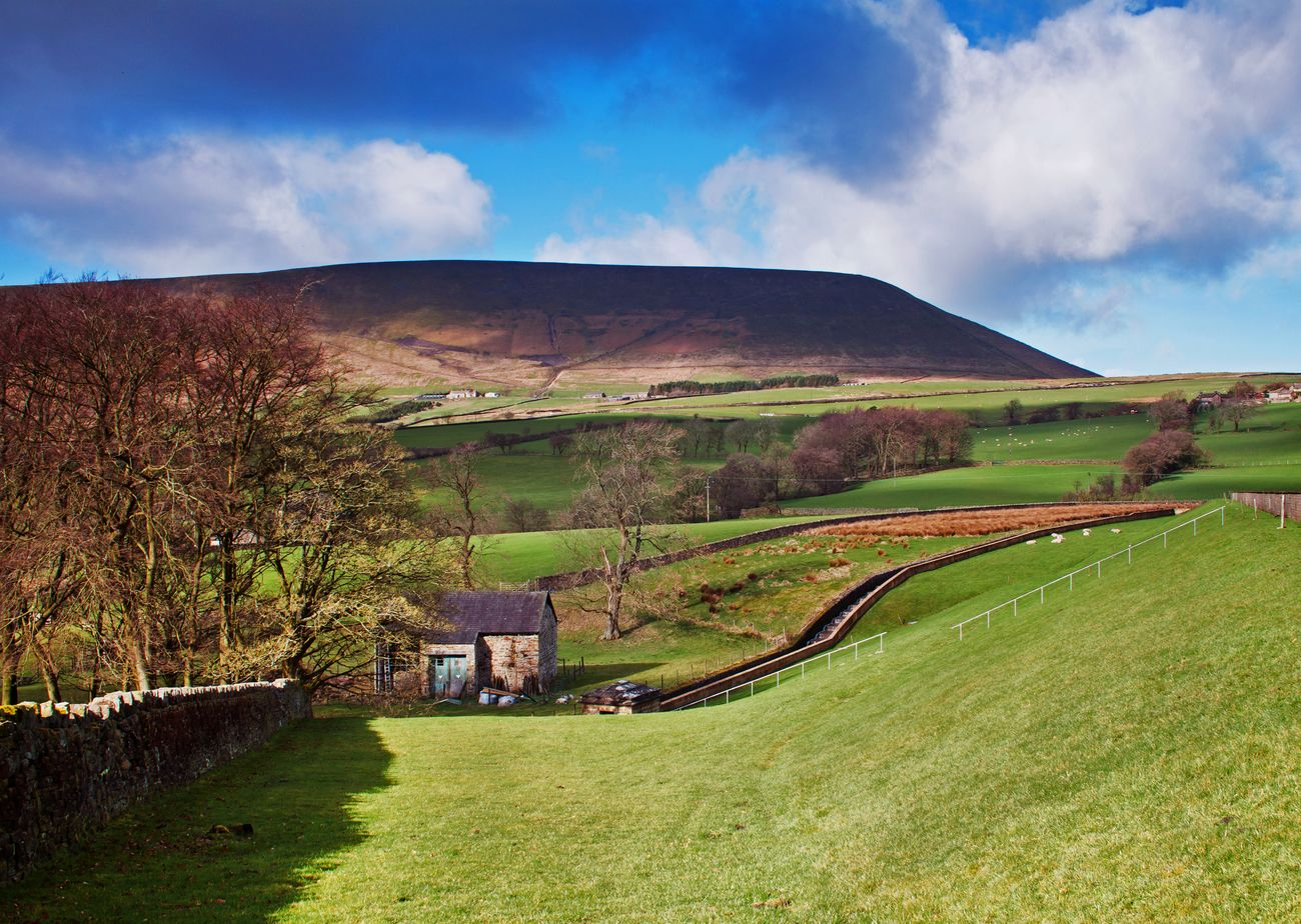 Light and shade across Pendle Hill, viewed from the village of Barley, Lancashire