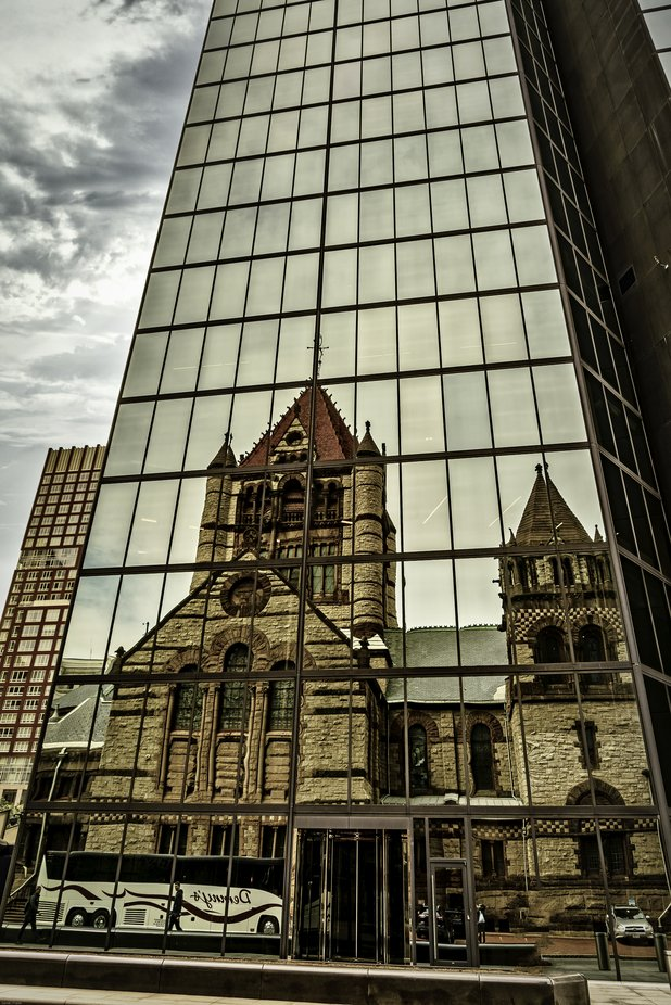This reflection spoke to me about all the changes since this church had been built and the modern city surrounding it today.  Spoke volumes not just in changes of architecture but the way people today think, worship (or not worship), and a multitude of other changes.  Copley Square - Boston.