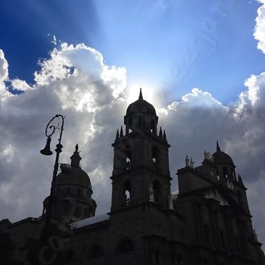 Sunset behind the cathedral of Toluca, Mexico