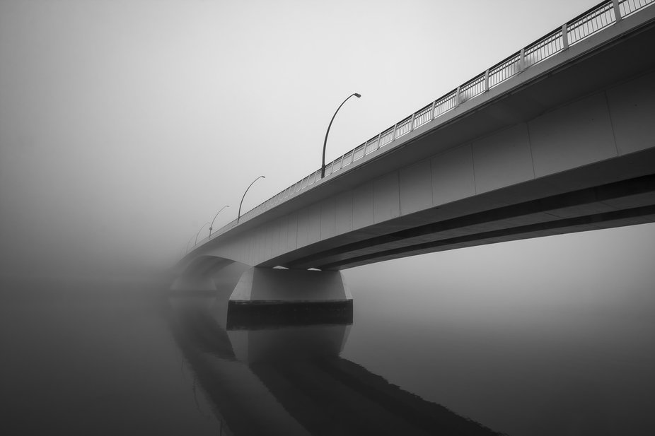 Victoria Bridge on a foggy Brisbane morning.