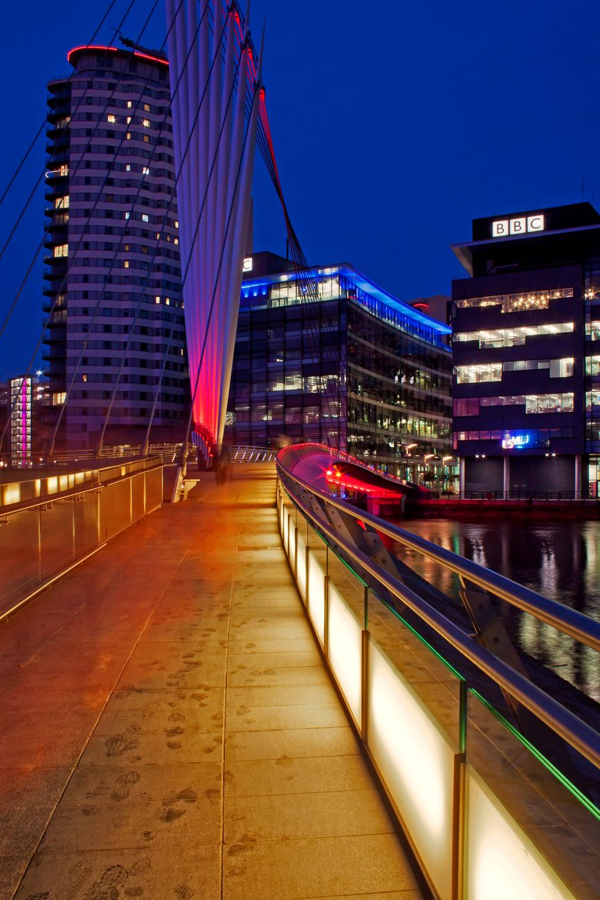 The footbridge leading to Media City at Salford Quays, Manchester