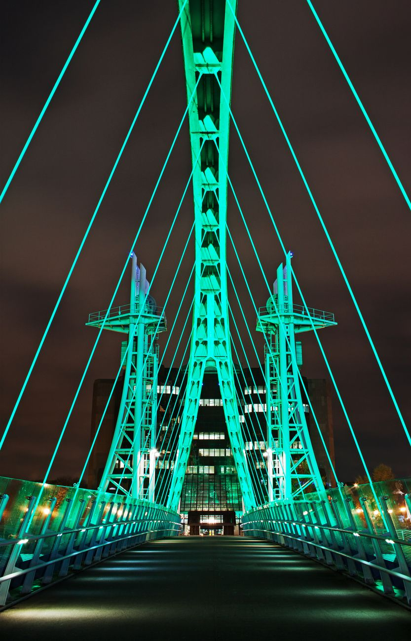 A footbridge at Salford Quays, Manchester. The home of Media City, which offers stunning nighttime viewing