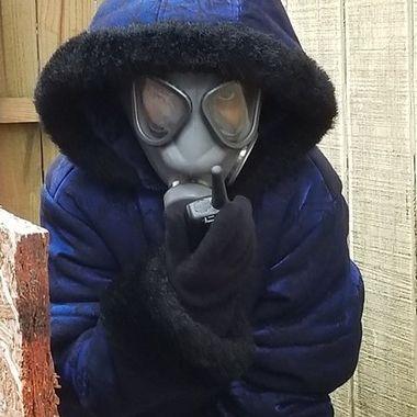 Masked child.
