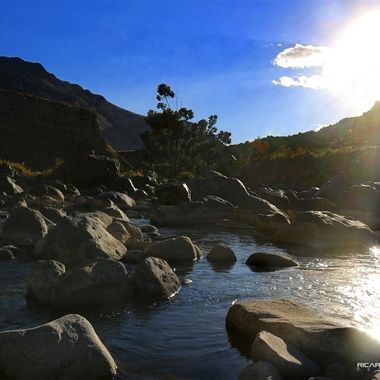 Sunset at Colca River, Arequipa, Peru