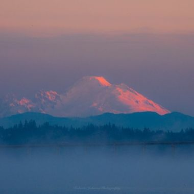 Mt. Baker a glow this morning, such beauty! Hood Canal, Washington, USA