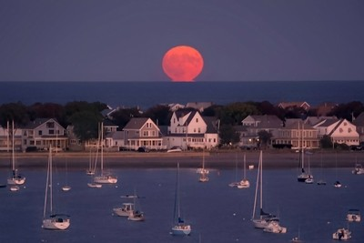 Full Harvest Moon Over Hull, MA
