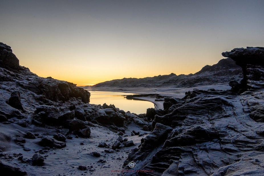 Sunset over Icelandic's lake