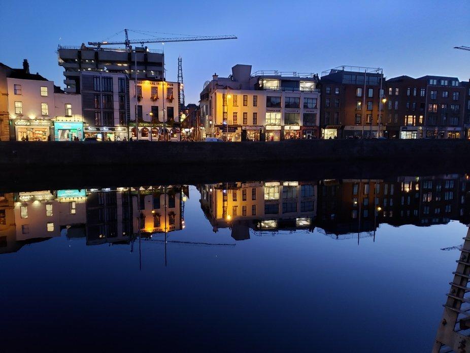 Still water reflections in Dublin, Ireland