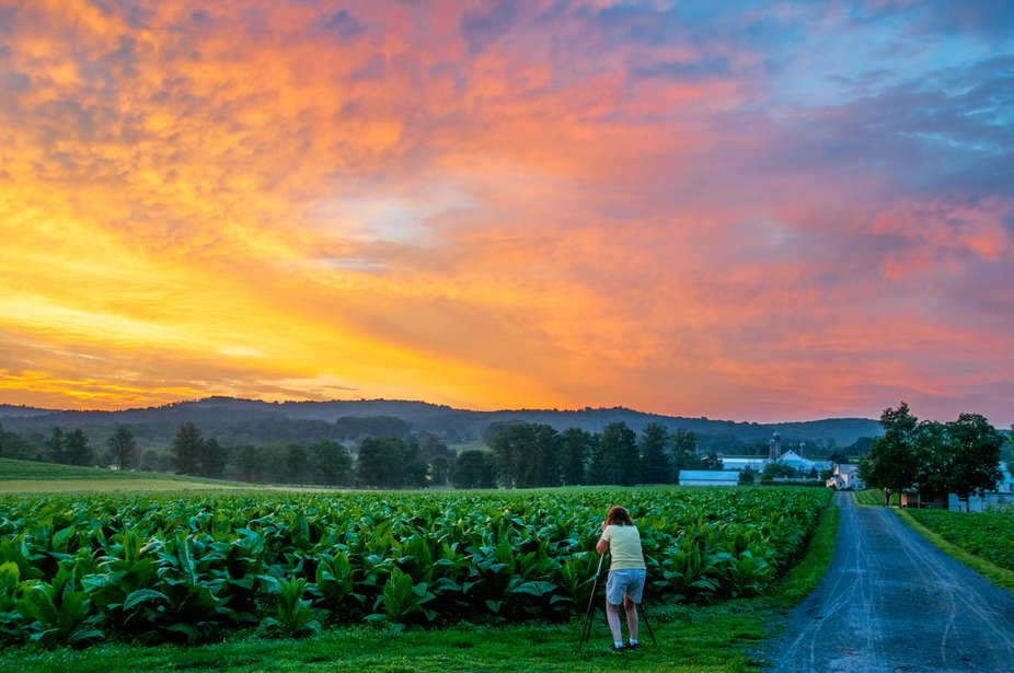 A fiery sunrise in Lancaster County PA gives the photographer time to create a composition prior ...