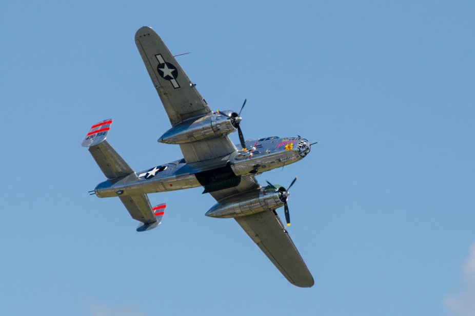 One of the last operational B25 Mitchell bombers from WWII flies over the Melbourne Air Show with...
