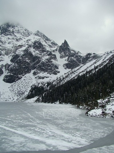 Snow covered mountains and frozen lake