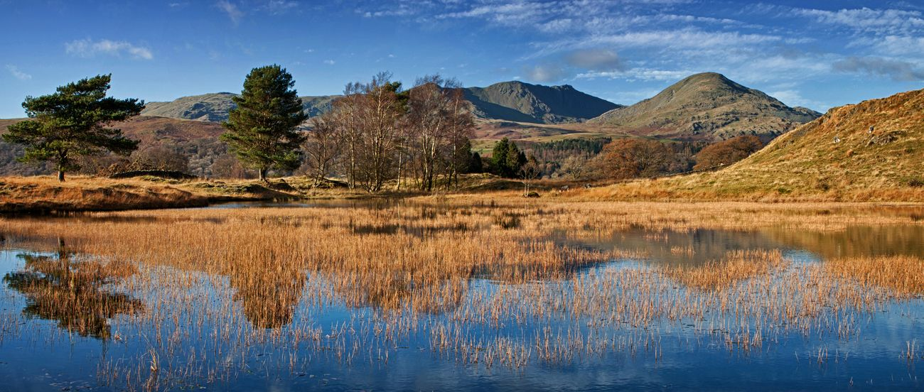 The still waters of Kelly Hall Tarn, with the Old Man of Coniston in the background